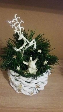 Dekorácie - Christmas Box-Sob a Anjel - 8797510_