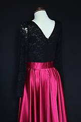 Šaty - Spoločenské šaty s dlhým rukávom a kruhovou sukňou rôzne farby - 8797425_