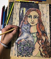 Kresby - Dievča s mačkou - 8797295_