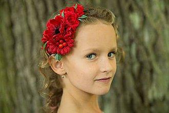 Ozdoby do vlasov - Čelenka červená - 8796305_