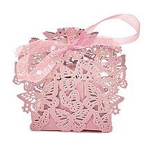 Obalový materiál - Svadobná krabička s motýlikmi ozdobná - 8802465_