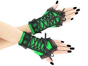 Rukavice - Zamatové zelené rukavice s korzetovým viazaním a čiernou čipkou 07B - 8804274_