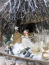 Vianočná dekorácia smotanová + zlatá