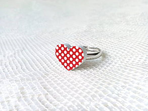 Prstene - Dotted heart ring (red/white polka dots) - 8800936_