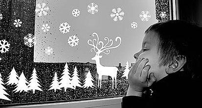 Dekorácie - Zimná krajina (nálepka na okno) - 8804943_