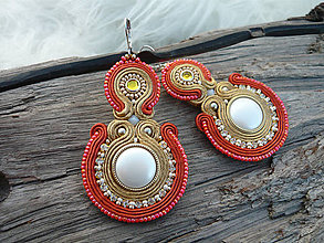 Náušnice - Soutache náušnice Luxury Golden Orange - 8802252_