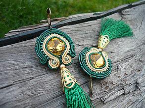 Náušnice - Soutache náušnice Zlaté Smaragdy - 8802308_