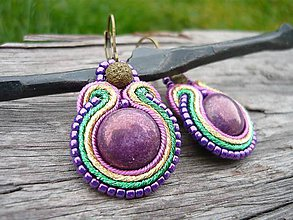 Náušnice - Soutache náušnice Mini Metallic Purple - 8802454_