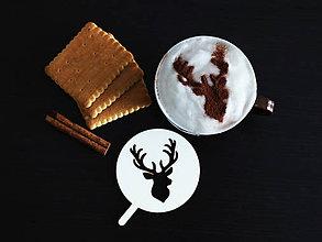 Pomôcky - Šablóna na kávu - jeleň - 8800632_