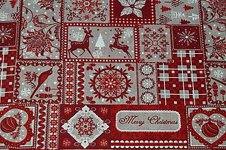 Textil - Látka Červené Vianoce - 8801019_