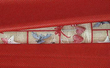 Textil - Látka Minibodky na červenej - 8801154_