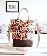 Veľké tašky - Veľká režná taška-šípové ruže - 8801762_