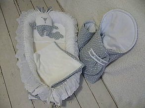 Textil - Súprava HNIEZDO s doplnkami a ZAVINOVAČKA - sivo-biela s volánom - 8742075_