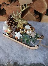 Dekorácie - zlaty jeleň_ sane_ dekorácia - 8805126_