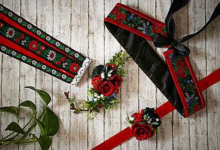 Opasky - Čierno-červený folk set (opasok, náramok, spona a hrebienok so stuhami) - 8805525_