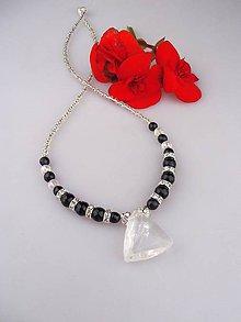 Náhrdelníky - Pravý horský krištál, ónyx, striebro... náhrdelník - 8804398_