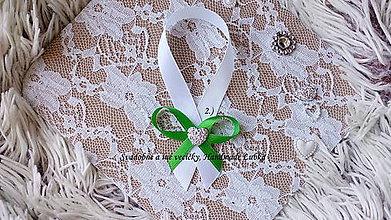 Darčeky pre svadobčanov - Stužky na fľaše / víno  - zelená - 8801705_