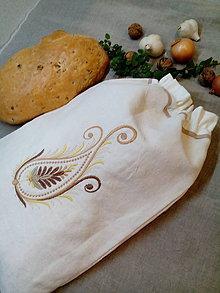 Úžitkový textil - Ľanové vrecko na chlieb, pečivo z ručne tkaného plátna - 8805151_
