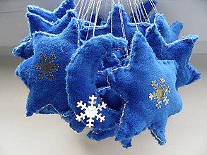 Dekorácie - hviezdy v modrostriebornejfarbe,sada 3ks - 8803286_