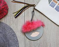 Kľúčenky - Kožený prívesok-EMÍLIA-LARGE -sivá - 8803293_