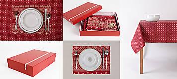 Úžitkový textil - Darčekový set - stolovanie červené srdiečko - 8800717_