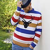 Oblečenie - Sveter s jelenom / horizonty / mondrian - 8800005_