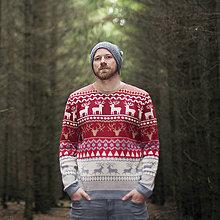 Oblečenie - Sveter s jelenom - norsky motiv / burgund - 8800031_