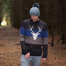Oblečenie - Sveter s jelenom - Horizonty - kobalt - 8800037_