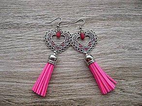 Náušnice - Veľké srdcové náušnice (cyklamenovo ružové so strapcami č. 1567) - 8800846_