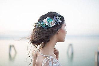 """Ozdoby do vlasov - Svadobný štvrťvenček """"ľadová obloha"""" - 8801111_"""
