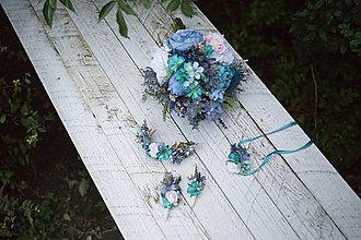 "Kytice pre nevestu - Svadobný set ""ľadová obloha"" - na ukážku - 8801250_"