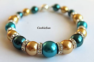 Náramky - Shades of Gold & Teal... - 8801411_