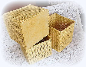 Košíky - Košík prírodný 4 (26 x 28 výška 22 - Béžová) - 8745391_