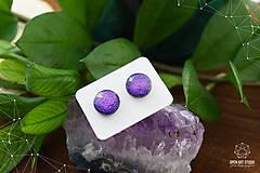 Náušnice - Fialovo-ružové sklenené napichovačky II. - 8799775_