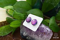Náušnice - Fialovo-ružové sklenené napichovačky II. - 8799776_