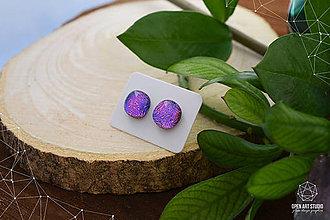 Náušnice - Fialovo-ružovo-modré sklenené napichovačky - 8799711_