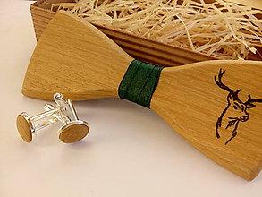 Doplnky - Pánsky drevený motýlik ručne vypaľovaný + manžetové gombíky - 8801699_