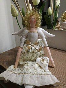 Bábiky - Tilda anjelik zlatá - 8800941_