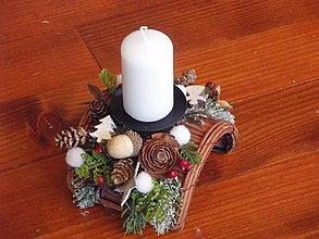 Svietidlá a sviečky - Vianočný svietnik poloblúk so sviečkou - 8804953_