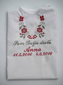Detské oblečenie - Košieľka na krst K14 ružovo-šedá (Odoslanie do 21 dní) - 8746001_