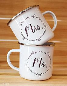 Nádoby - Smaltované hrnčeky pre párik Mr.&Mrs. - 8800385_