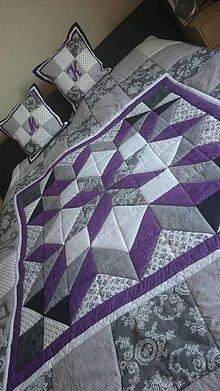 Úžitkový textil - Patchworková deka s vankúšmi Violet Star - 8809628_