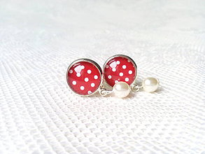 Náušnice - Pin Up earrings with pearls (5 colors) - 8806636_