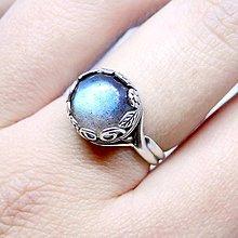 Prstene - Labradorite Vintage Flower & Silver Ag 925 Ring / Strieborný vintage prsteň s labradoritom - 8806424_