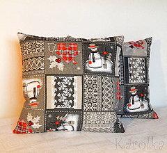 Úžitkový textil - Vianočná obliečka - Snehuliačik - 8807384_