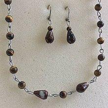 Sady šperkov - oceľová sada šperkov s tigrím okom a hnedým achátom - 8806499_