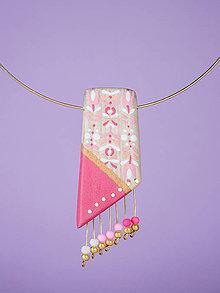 Náhrdelníky - Náhrdelník - Maľovaný ružový sad - 8806878_