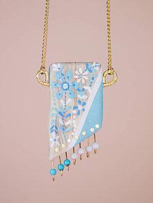 Náhrdelníky - Náhrdelník - Maľovaný modrý sad - 8806901_