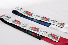 Opasky - Folk opasok 5,5 cm obojstranný (Bielo - čierny opasok s červenou stuhou (obvod pásu do 80 cm)) - 8808450_