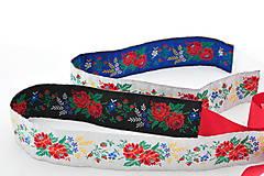 Opasky - Folk opasok 5,5 cm obojstranný (Bielo - čierny opasok s červenou stuhou (obvod pásu do 80 cm)) - 8808458_